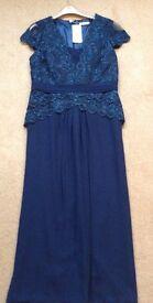New dark teal lace evening dress