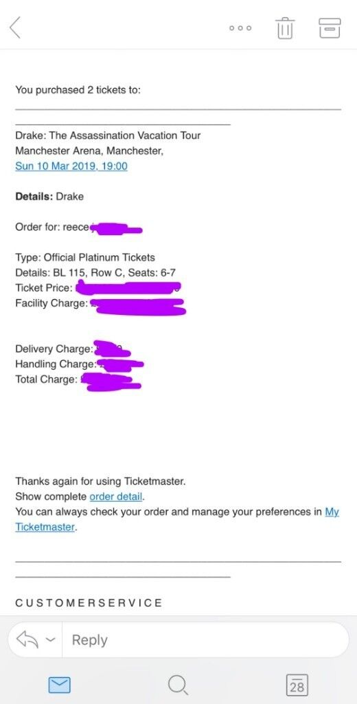 *BEST SEATS* 2x Drake Manchester Concert Tickets  Assassination Vacation  Tour  PLATINUM SEATED | in Clifton, Manchester | Gumtree