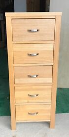 SOLID OAK TALL BOY CHEST OF DRAWERS EXCELLENT