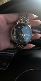Gold Hugo Boss Watch- Great condition- All working- Boxed