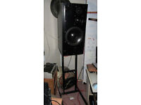 ATC 100A SCM series three-way active studio monitor speakers with stands