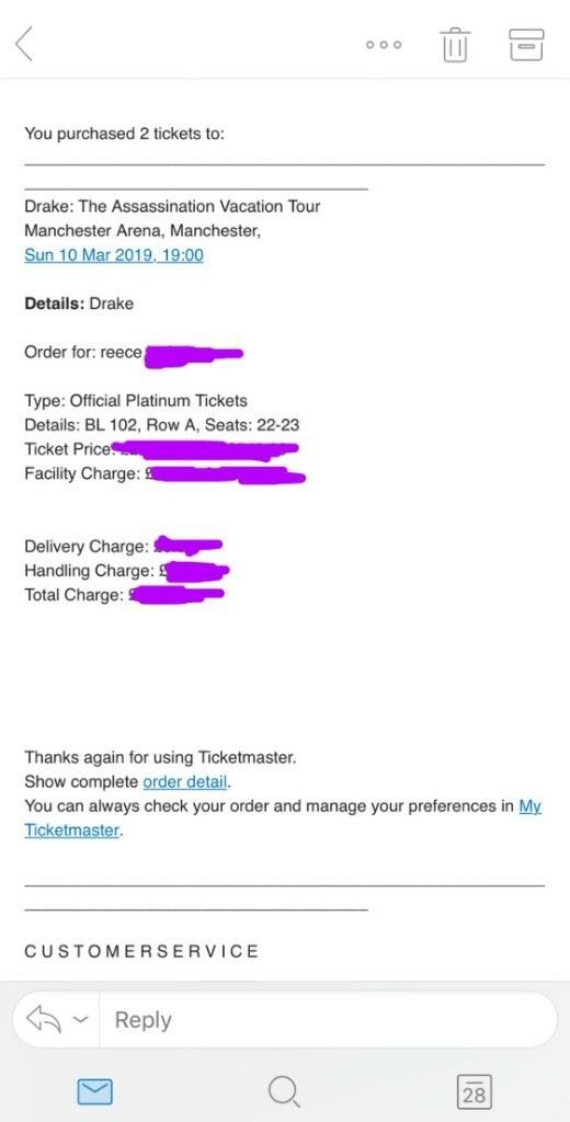 *ROW A* 2x Drake Manchester Concert Tickets  Assassination Vacation Tour   PLATINUM SEATED | in Clifton, Manchester | Gumtree