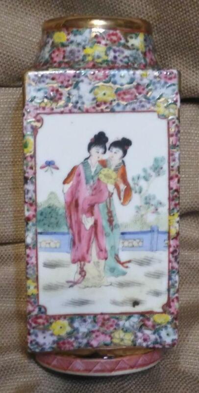 Chinese Asian Enamel Decorated Famille Rose Mandarin Porcelain Pottery Vase Urn