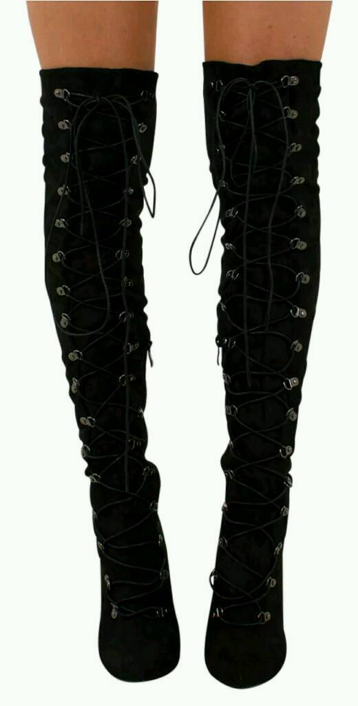 Sexy stunning lace up stiletto thigh over knee black boots 6 brand new boxed