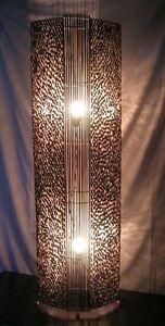 NEW Balinese Brown Bamboo Ring Stripe Floor Lamp Nat