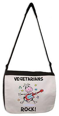 VEGETARIANS ROCK MESSENGER BAG - Vegan Veggie Animal Rights Present Gift