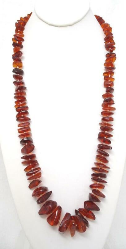 """Vtg Baltic Natural Deep Rich Honey Amber Knotted Bead 29"""" Necklace 53.6g"""