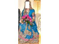 Excellent cond Teal Green Pakistani 3piece bridal lengha with cherry red and fuschia pink embroidery