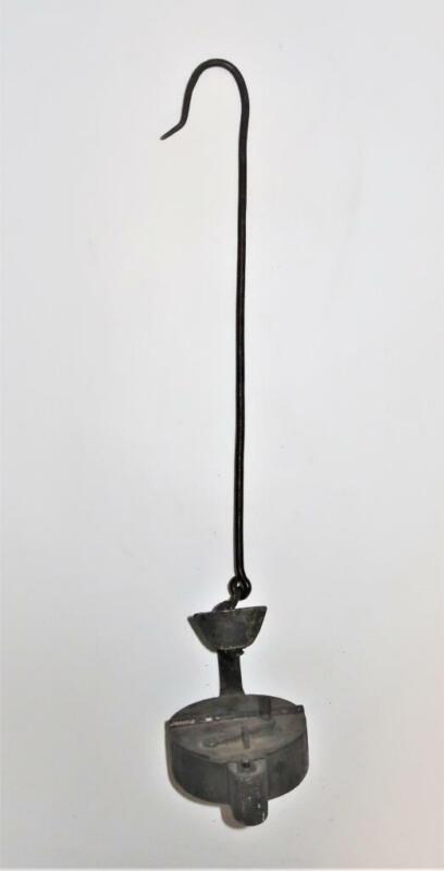 "Glück-Aue, Good Luck, 19th Century Miner Betty Lamp w/ Heart & Hanger, 20"""
