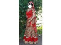 Indian/Pakistani Bridal Lengha. Heavily embellished, worn once good as new (includes matching pouch)