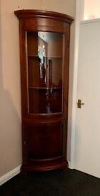 Vintage Curved Glass Corner Cabinet