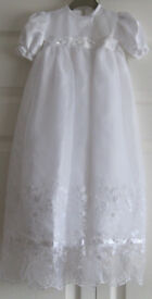 White satin and lace Christening Dress and bonnet, age 6-12 months