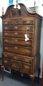 Solid Cherry Wood Carved Highboy