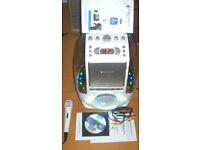 Bluetooth CD AUX Karaoke Singing Machine Aqua with Mic & Cables