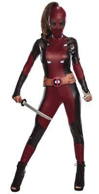 Deadpool Costume Womens Large (12-14) Halloween Mask Jumpsuit Belt Marvel New - Deadpool Woman Costume