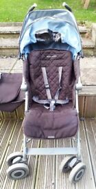 Maclaren XLR, Brown and Blue with removable light blue liner, Footmuff, head hugger and rain cover
