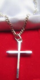 Solid Silver Cross and Chain Boxed £6.50