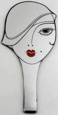 vintage ART DECO 2-sided GLAMOUR GIRL figural HAND MIRROR 6pix