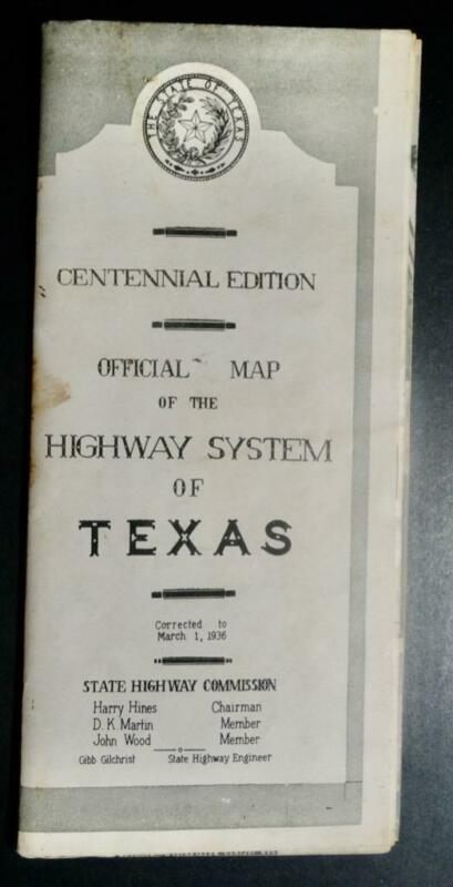 1936 Highway System Of TEXAS  Official Map  CENTENNIAL EDITION
