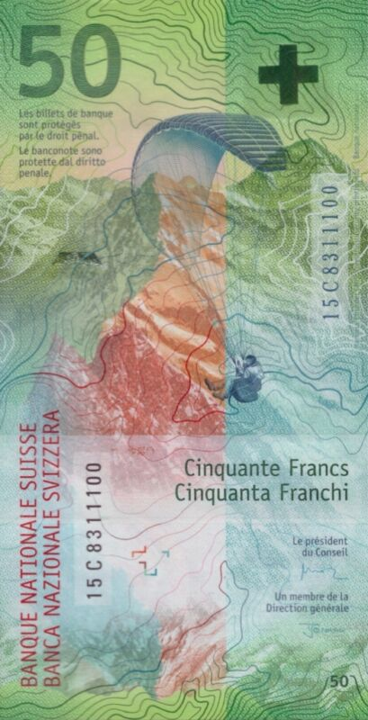 SWITZERLAND 50 FRANCS 2016 P-NEW UNC