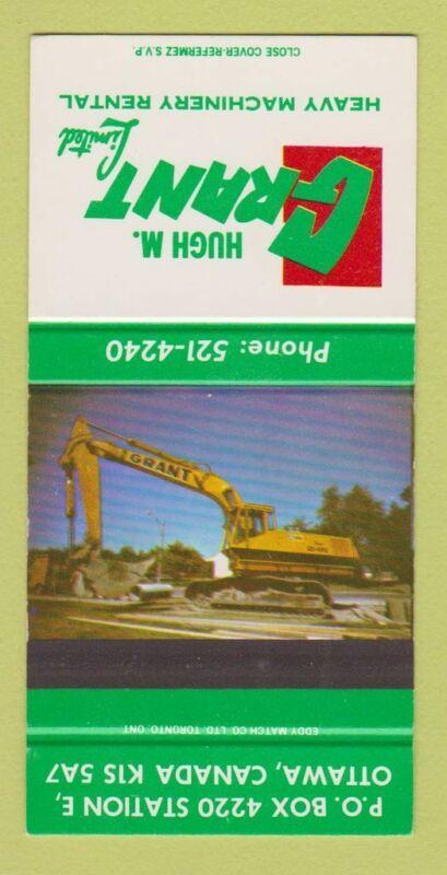 Matchbook Cover - Hugh Grant Machinery Equipment Ottawa ON SAMPLE 30 Strike