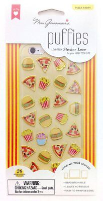 Pizza Party Puffies Stickers Mrs Grossman's 1 sheet per pack 3