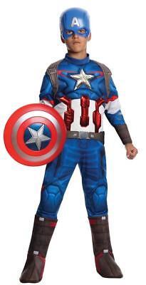Jungen Kind Captain America Marvel Avengers Alter von Ultron Muskelbrust Kostüm (Kostüm Von Captain America)