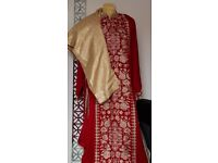 Red, Gold and white Salwar Kamees set