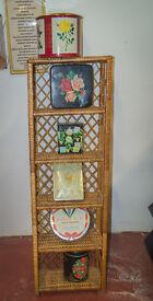 Vintage retro mid century modern wicker shelves