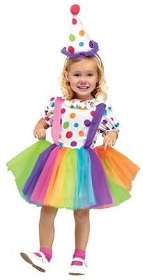Kleinkind Kind Deluxe Big Top Spaß Clown Gepunktet Rainbow Rock Kleid Kostüm (Clown Kleid Kind Kostüme)