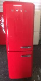 Lovely glossy red smeg fab32 fridge freezer. + warranty. Can deliver.