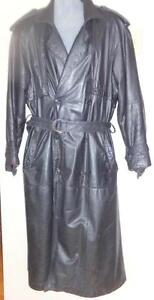LEATHER TRENCH COAT Vintage 80s CLUB PELLE MENS O/S Long Black CANADA L 42  Retro Goth Punk very long OAKVILLE