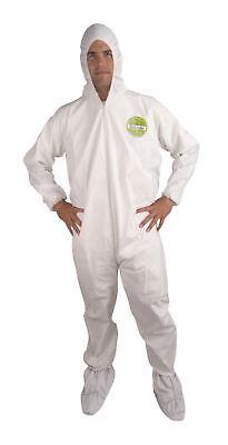 2xl Xxl White Microporous Coveralls Hood Boots Tyvek Alternative Case Of 25