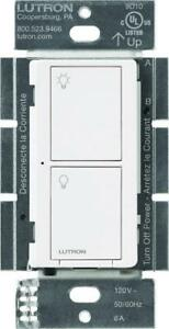 NEW Lutron Caseta Wireless Smart Lighting Switch for All Bulb types and Fans, PD-6ANS-WH,