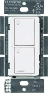 NEW Lutron Caseta Wireless Smart Lighting Switch for All Bulb types and Fans, PD-6ANS-WH