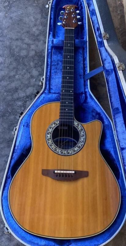 1983 OVATION BALLADEER 1561 ACOUSTIC ELECTRIC GUITAR WITH HARD CASE.