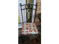 (4 available) Cast iron indoor or outdoor chair recovered in Cath Kidston London buses oil cloth
