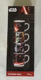 Star Wars The Force Awakens 4 stacking mugs new