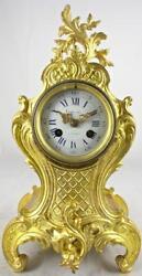 Antique French 1855 Vincenti gilt ormolu bronze Rococo 8 day bell mantle clock