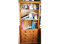 Wooden Bookshelf/Bookcase with 4 drawers
