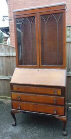 edwardian Mahogany bureau bookcase on claw and ball feet