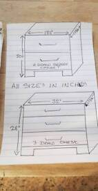 1x 3 draw chest, 1x two draw bedside cabinet, 2 draw plus two door wardrobe.