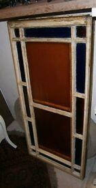 Pair wooden framed coloured glass edwardian porch windows