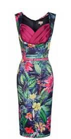 BNWT Lindy Bop Rainforest Vanessa Wiggle Dress size 12