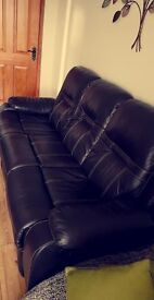 3 Seater Recliner Brown Sofa, Chair And Cuddle Chair