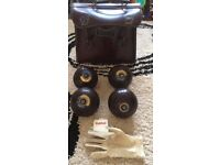 4 Taylor Lignoid Lawn Bowls –Size 4– with Leather Winford bag, Glove and Bowls distance Measure.