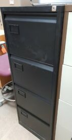 Black Metal 4-Drawer Filing Cabinet (No Key)