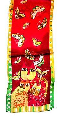 Scarf Long Silk Bright Burnt Orange Yellow Lime Tan Butterflies & Cats