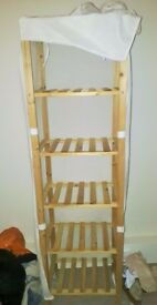 Storage shelves wooden Fabric cover bedroom clothes