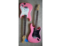 CRAFTER Cruiser . Modified strat. New p/ups, pots and switch .vgc Black on PINK